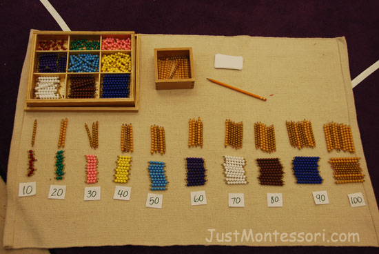 Montessori Math Bead Worksheets Addition With Three